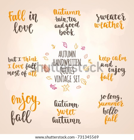 Autumn Quotes Autumn Quotes Vintage Lettering Set Fall Stock Vector (Royalty  Autumn Quotes