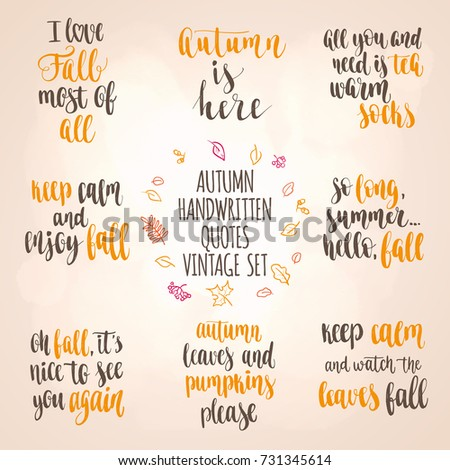 Autumn Quotes Beauteous Autumn Quotes Vintage Lettering Set Fall Stock Vector Royalty Free
