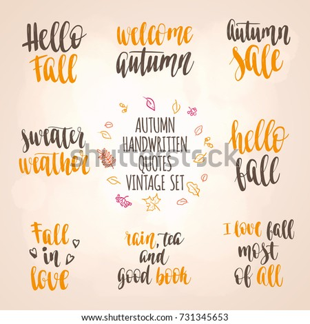 Fall Quotes New Autumn Quotes Vintage Lettering Set Fall Stock Vector Royalty Free