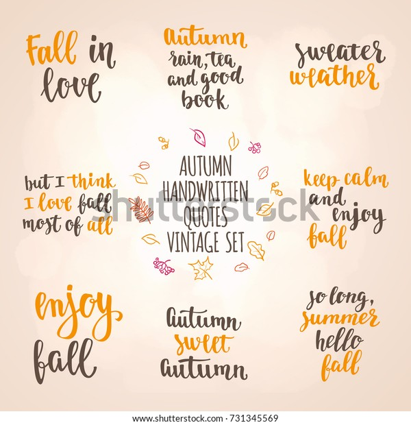 Autumn Quotes Vintage Lettering Set Fall Stock Vector Royalty