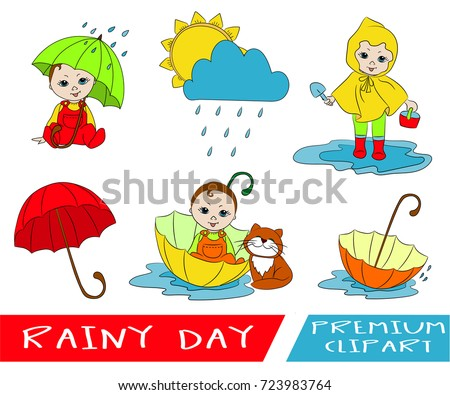 Autumn Rainy Day Kids Activities Clipart Stock Vector Royalty Free