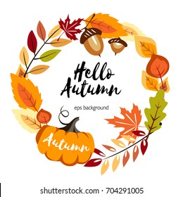autumn round background with yellow leaves pumpkin and autumn symbols