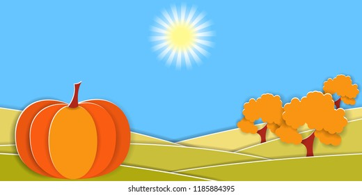 Autumn rural landscape with big pumpkin and fruit trees. Paper cut shapes and layers as countryside design. Vector EPS10