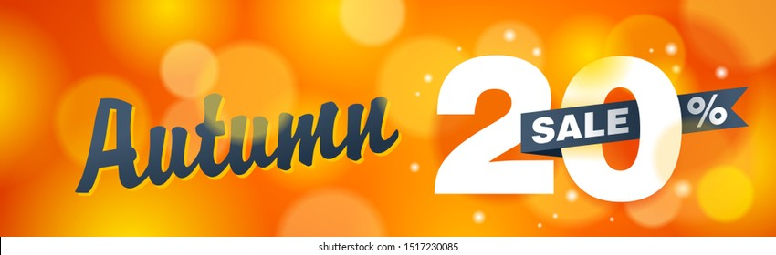 Autumn sale - up to 20% off - creative vector wide banner on orange blurry background - special seasonal sales and offers promo flyer template
