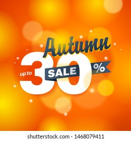 Autumn sale up to 30% off - creative vector banner (poster) on orange blurry background - special seasonal sales and offers promo flyer template