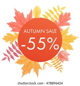 Autumn sale 55% off circle banner. Vector discount offer with autumnal red maple, orange oak, yellow rowan foliage on white background.