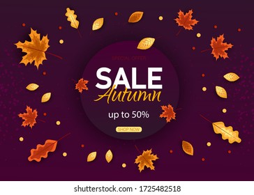 Autumn Sale Background with falling leaves, Web Banner, shopping sale or seasonal poster, Postcard and Invitation card. Vector illustration.