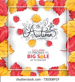 Autumn Sale Background with Hand Drawn Autumn Text and Leaves around it. For Holiday sale Promo, Invitation card and Greeting card
