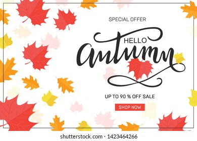 Autumn sale background layout decorate with leaves for shopping sale or promo poster and frame leaflet or web banner.Vector illustration template. Ad concept