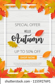 Autumn sale background with leaves. Can be used for shopping sale, promo poster, banner, flyer, invitation, website or greeting card. Vector illustration