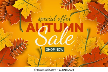 Autumn sale banner, 3d paper colorful tree leaves on yellow background. Autumnal design for fall season sale banner, special offer poster, flyer, web site, paper cut art style, vector illustration