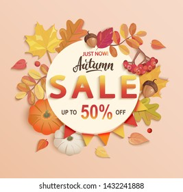 Autumn sale banner, up to 50 percent off, discount card in circle frame from seasonal fall leaves,rowan, pumpkin,acorn for shopping promotions,prints,flyers,invitations, special offer poster.Top view.