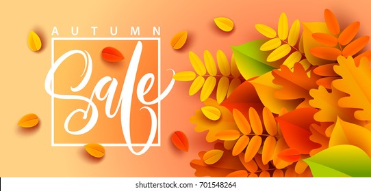 Autumn sale banner background with fall leaves. Vector illustration
