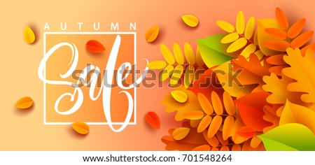 autumn sale banner background fall leaves のベクター画像素材