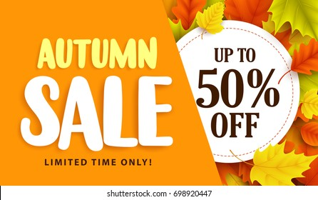 Autumn sale banner design with discount label in colorful autumn leaves background for fall season shopping promotion. Vector illustration.