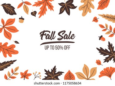 Autumn sale banner design with fall leaves background. Vector illustration
