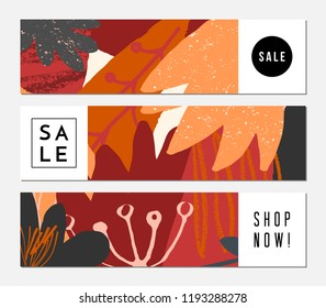 Autumn sale banner design. Three banners with abstract shapes and leaves in orange, yellow, pink, red and brown. Autumn sale offers, discount cards, brochures.