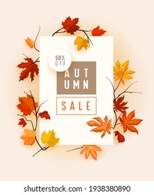 Autumn Sale Banner with Fallen Maple Leaves on Branches, Promo Advertising Poster, Store Discount Flyer or Off Voucher. Cartoon Vector Illustration, Abstract Floral Background in Cartoon Style.
