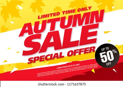 autumn sale banner layout design, vector illustration
