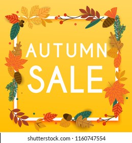 Autumn Sale Banner with leafs, Poster, Flyer. Vector illustration.