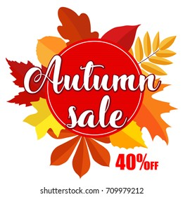 Autumn sale banner with  leaves on white background. Vector illustration with colorful autumn leaves. Bright banner sale with colorful fall leaves. Fall discount sale, circle banner.