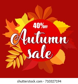 Autumn sale banner with autumn leaves on red background. Vector illustration with colorful autumn leaves. Bright banner sale with colorful fall leaves. Fall discount sale, circle banner.