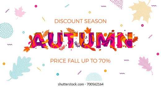 Autumn sale banner on maple leaf foliage pattern background for autumnal shopping promo 70% design. Vector September oak acorn and discount text for shop poster or leaflet