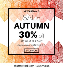 Autumn sale banner for online shopping with discount offer. Promotional email design poster. Fall abstract background.