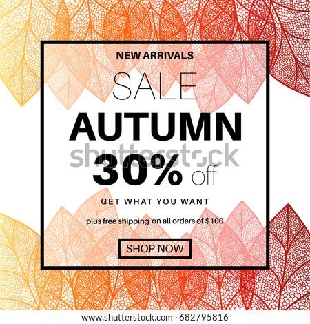 autumn sale banner online shopping discount のベクター画像素材