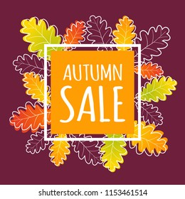 Autumn sale banner with orange square and modern autumn oak leaves. Fall vector poster background.