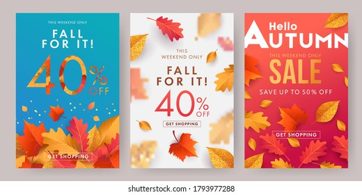 Autumn sale banner, poster or flyer set. Vector illustration with frame of bright beautiful leaves on white, blue and red background. Template Set for advertising, web, social media and fashion ads