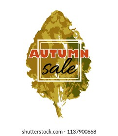 Autumn sale. banner with seasonal fall leaf