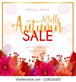 Autumn sale banner set with leaves, flowers, and frame gold