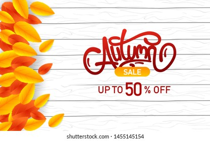 Autumn Sale. Banner template vector illustration. With Typography and Element