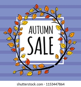 Autumn sale banner with white square and modern autumn branch wreath with leaves. Fall vector poster background.