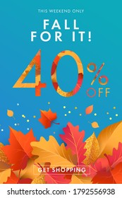 Autumn Sale blue background, banner, poster or flyer design. Vector illustration with bright beautiful leaves frame and text fall for it 40 % off. Template for advertising, web, social and fashion ads
