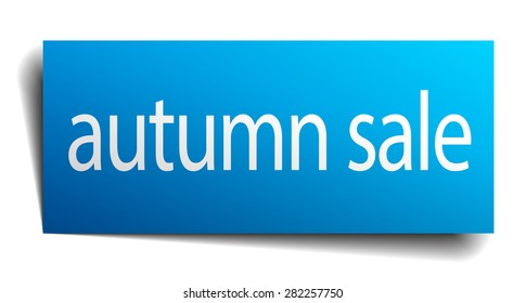 autumn sale blue square isolated paper sign on white