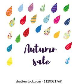 Autumn sale card with color rain, funny design illustration, vector graphic