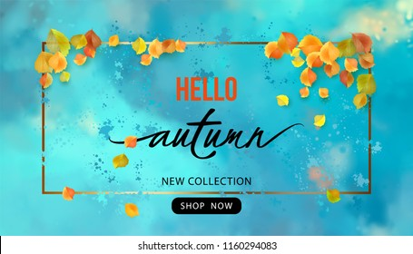 Autumn Sale Design. Vector fall banner. Flyer template with lettering and a frame on a blue watercolor background