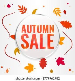 Autumn sale discount banner with autumn leaves. Season discount concept. Vector stock illustration.