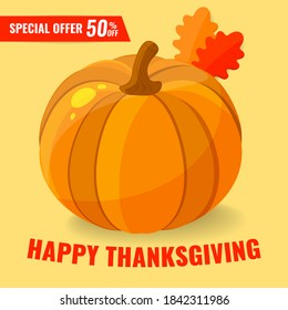 Autumn sale discount banner with pumpkin and autumn leaves. 50 OFF discount concept. Vector illustration.