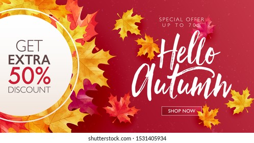 Autumn sale discount marketing design layout. Hello autumn banner concept. Maple red theme design on gradient background. Vector illustration template.
