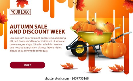 Autumn sale and discount week, banner with garden wheelbarrow with a harvest of pumpkins and autumn leaves