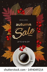 Autumn Sale. Fall season sale and discounts banner, vector illustration. Autumn, fall leaves, hot steaming cup of coffee