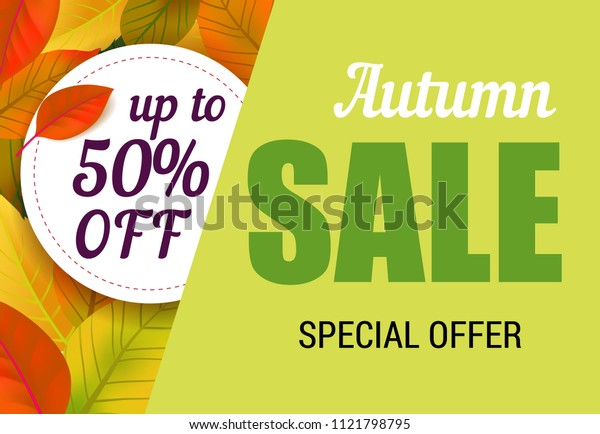 Autumn sale, up to fifty percent off lettering with leaves. Autumn offer or sale advertising design. Handwritten and typed text, calligraphy. For leaflets, brochures, invitations, posters or banners.