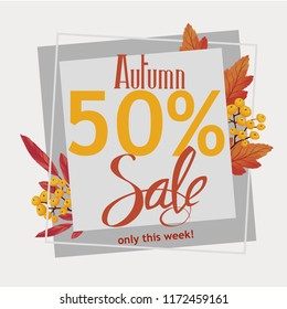 Autumn sale, flyer, banner, poster template design