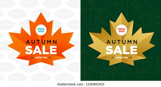 Autumn sale flyer template with lettering. Bright fall leaves. Poster, card, label, banner design. Bright geometrical background. Bright banner for autumn sale in frame from leaves. Vector.