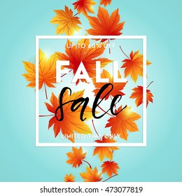 Autumn sale flyer template with lettering. Bright fall leaves. Poster, card, label, banner design. Vector illustration EPS10