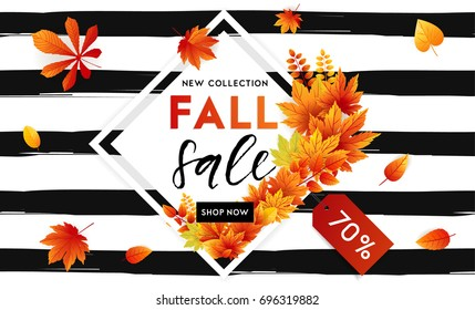 Autumn sale flyer template with lettering. Bright fall leaves. Poster, card, label, banner design. Bright geometrical background. Vector illustration EPS10