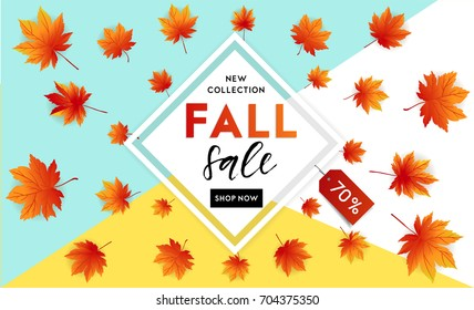 autumn sale flyer template lettering bright のベクター画像素材